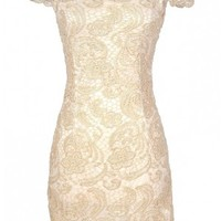 Lily Boutique Nila Crochet Lace Capsleeve Pencil Dress in Beige Shimmer - DRESSES Lily Boutique