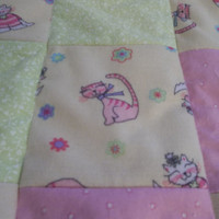 Baby Girl Cat Quilt, PInk and Green Nursery, Upcycle Baby Clothes, Car Seat Blanket