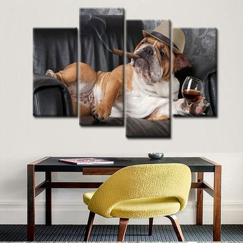 4 Piece Canvas Wall Art - Happy dog   drinking wine while smoking - Modern Home Decor Stretched (Unframed)