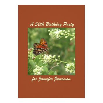 50th Birthday Party Invitation Orange Butterfly