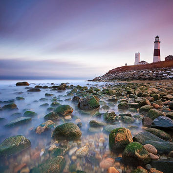 Metal Wall Art Beach Decor Metal Print Seascape Photography Montauk Lighthouse Blue Aqua Pink Purple Aluminum Print Living Room Bedroom