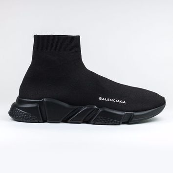 100% AUTH NEW Mens Balenciaga Knit Speed Sock Triple Black Sneaker Runner