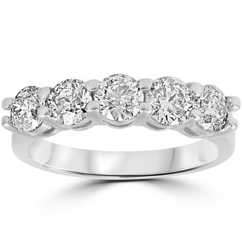 JewelMore™ 14k White Gold 1ct TDW Diamond Five Stone Anniversary Ring (I-J, I2-I3)