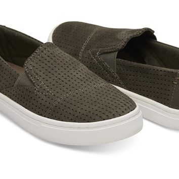 TARMAC OLIVE PERFORATED MICROFIBER YOUTH LUCA SLIP ONS