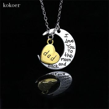 Family Mom Dad Daughter Sister Forever In My Heart Love Husband Wife Best Friends Silver Plated Pendant Necklace Collier Gifts