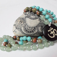 Gemstone Meditation Yoga Japa Mala, Zen Buddhist mala, 108 Mala Beads Om Mala Necklace, Green Aventurine Unakite Turquoise Prayer Beads Mala