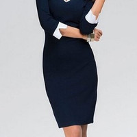 V-Neck 3/4 Sleeves Color Splicing Bodycon Dress