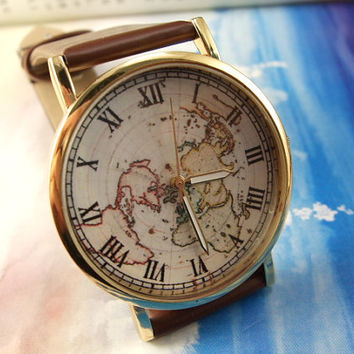 earth watch color map watch world map watch men leather watch women watch