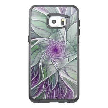 Flower Dream, Abstract Purple Green Fractal Art OtterBox Samsung Galaxy S6 Edge Plus Case