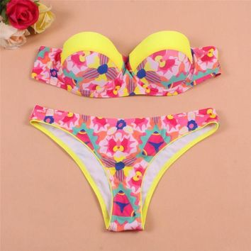 CREYHY3 2016 Fashion Push Up Bikini Set Floral Printed Swimwear Women Neon Swimsuit Biquini Brazilian Bathing Suit