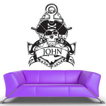 Wall Vinyl Decal Sticker Bedroom Decal Baby Decal Pirate Corsair Custom Name z395