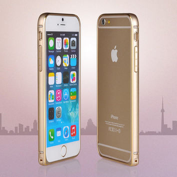 "iPhone 6 case 6plus iPhone 5 5s Ultra Slim Aluminium Bumper Case Metal Bumper fo iPhone 6 plus 5.5"" Apple 4.7"" (gold silver)"