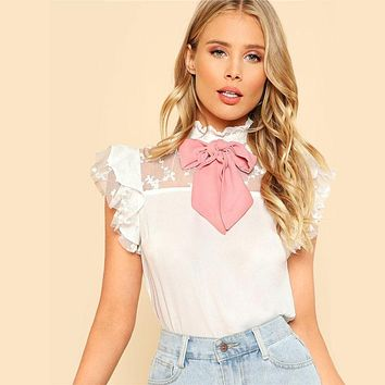 White Tie Neck Embroidered Mesh Yoke Bowknot Cute Blouse Ruffled Neck Short Sleeve Ladies Tops Lolita Blouses