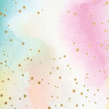 Watercolor Pastel Rainbow Gold Stars Platinum Cloth Backdrop - 6x8 - LCPC6383 - LAST CALL
