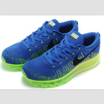NIKE air cushion flying line woven rainbow casual shoes sports shoes Sapphire blue gre