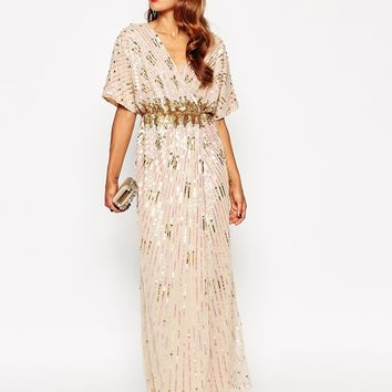 ASOS RED CARPET Kimono Holographic Sequin Maxi Dress