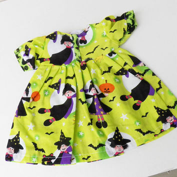 """bitty baby clothes, girl, or 15"""" twin doll, Halloween, witch, lime green, nightgown, handmade adorabledolldesigns, cotton"""