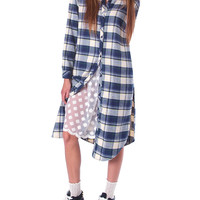 Check Mate Plaid Shirt Dress - Navy/Ivory