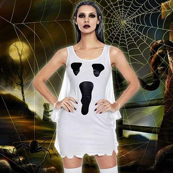 2019 Autumn Women Halloween Party Costume Dress Cosplay Scream Ghost Print Fancy Dress Costume Role Play Masquerade Outfit White Macchar Cosplay Catalogue
