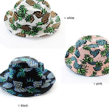 New Fashion Summer Cartoon Pineapple Cloth Flat Fisherman Hat Outdoor Sun hat Cute Hats For Women = 1916943236