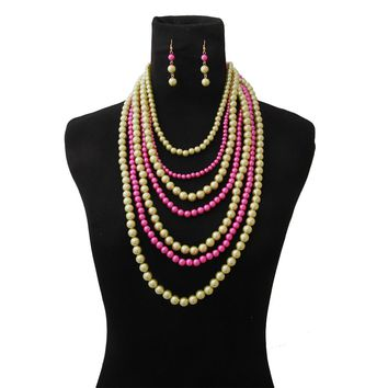Bright Pink and Yellow Pearl Multi Strand Layered Necklace Set