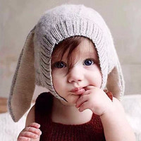 2016 New Baby Rabbit Ears Knitted Hat Infant Toddler Winter Cap For Children 3-24M Girl Boy Accessories Photography Props