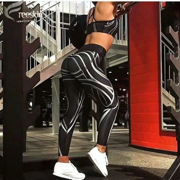 Freeskin Sport Leggings Women 3D Print Quick Dry High Stretch Fitness Gym Running Pants Slim Jeggings Workout Trousers Clothes