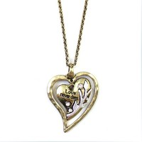 Vintage Heart Shape Rhinestone Necklace-Love never dies