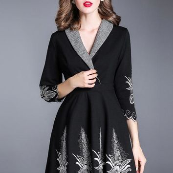 Black Shawl Collar Embroidered Dress