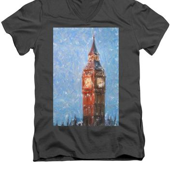 Pastel Painting Of Big Ben Tower In London - Men's V-Neck T-Shirt