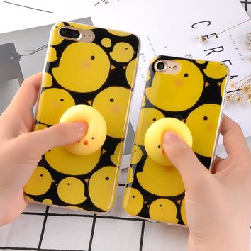 Soft Silicone Squishy Case for iPhone 7 6 6s Plus Cover 3D Cute Funny Pressure Release toy Small Yellow Chicken Phone Cases Capa