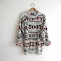 Vintage retro sweater. Bill Cosby sweater. Oversized white tribal sweater.