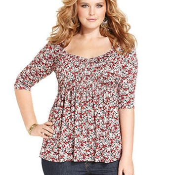American Rag Plus Size Three-Quarter-Sleeve Floral-Print Babydoll Top