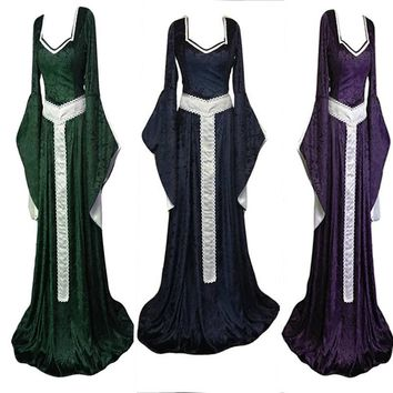 Women 3 Color Cosplay Vintage Celtic Dress  with Girdle Belt Long Loose Gothic Dress