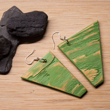 Green Wood Earrings, Green Dangle Earrings with Silver Hooks, Geometric Earrings, Wood Earrings, Distressed Wood, Reclaimed Pine Wood