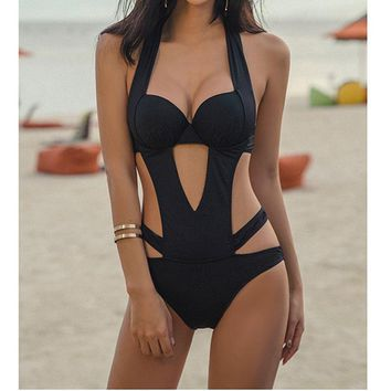Sexy Black Halter Cut Out Bandage Swimsuit Women Trikini Swim Bathing Suit Women Monokini Brazilian Swimwear Women One Piece