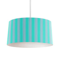 Turquoise and Gray Stripes Pendant Lamp