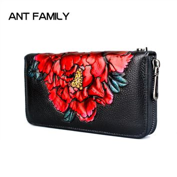 631e40afa6 3D Embossing Genuine Leather Women Wallet Zipper Fashion Flower