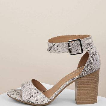 Snakeskin Buckled Ankle Stacked Heel Sandals