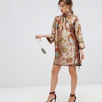 ASOS Chinoiserie Mini Wrap Dress with Tipping at asos.com