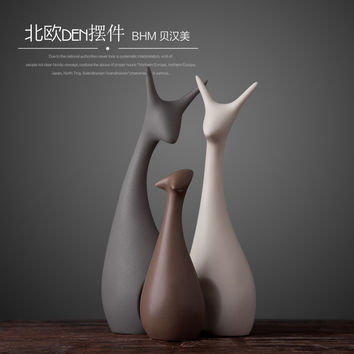 Minimalist Ceramic Deer Crafts Room Decoration Handicraft Ornament Porcelain Animal Cat Figurines