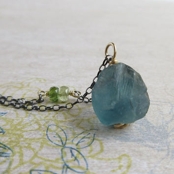 Teal Fluorite Pendant, Green Tourmaline Necklace, Sterling Silver Chain, Gold Filled Wire Wrap, Raw Fluorite Pendant