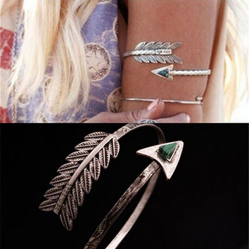 s Adjustable Bohemian Ethnic Upper Arm Bracelet Arm Cuff Vintage Arrow Open Bangle Armlet Arm Cuff  SM6