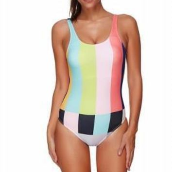 Sassy Removable Padding Colorblock One Piece Swimsuit
