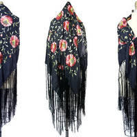 1920s Black Silk Fringe Piano Shawl