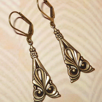 ART DECO Inspired Earrings 'MILLIE' - Antique Gold- Vintage Inspired - Trinity Brass Ear Wires - Great Gatsby - Downton Abbey
