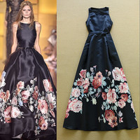 HIGH QUALITY New Fashion 2016 Designer Runway Maxi Dress Women's Sleeveless Noble Floral Printed Celebrity Party Long Dress