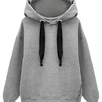ROMWE Asymmetric Hooded Zippered Grey Hoodie