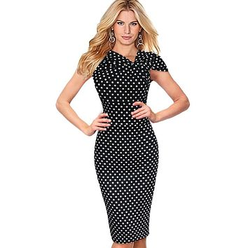 Vfemage Women Elegant Vintage Pinup Bow Ruched Polka Dot Tunic Business Casual Work Party Stretch Bodycon Pencil Dress 266