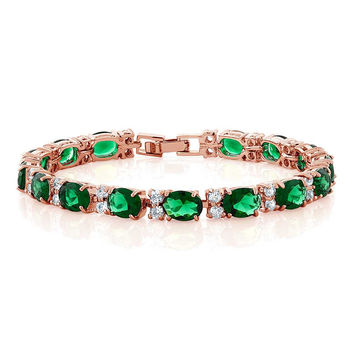 "40.00 Ct Oval Green Cubic Zirconia CZ Rose Gold Plated 7"" Tennis Bracelet"
